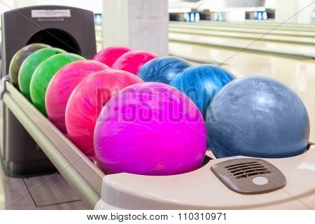 Close-up View Of Colorfulbowling Balls