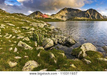 Amazing Sunset over Tevno Lake and Kamenitsa peak