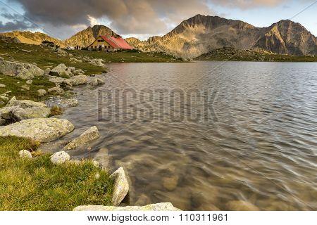 The last rays of the sun over Tevno Lake and Kamenitsa peak