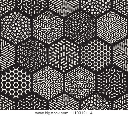 Vector Seamless Black And White  Hexagonal Patchwork Tiling Filles With Rounded Line Jumble Patterns