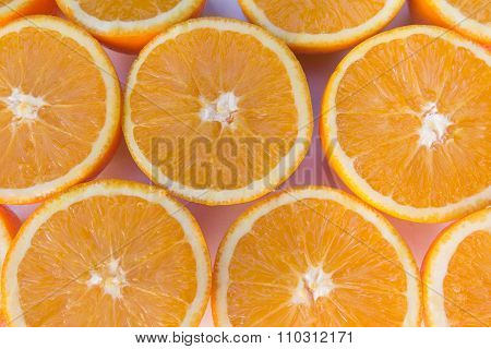 Half Oranges , Sliced Orange Fruits Closeup