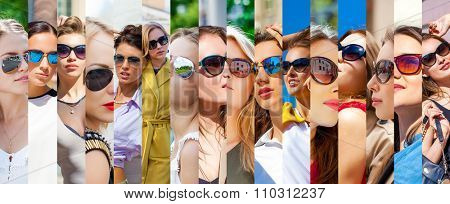 Beauty collage. Faces of women with glasses. Group of people. Fashion photo
