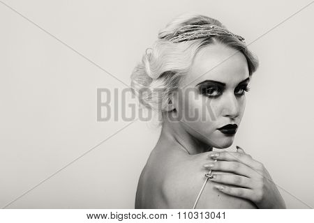 Portrait of a gorgeous blonde. The mystery, sadness,