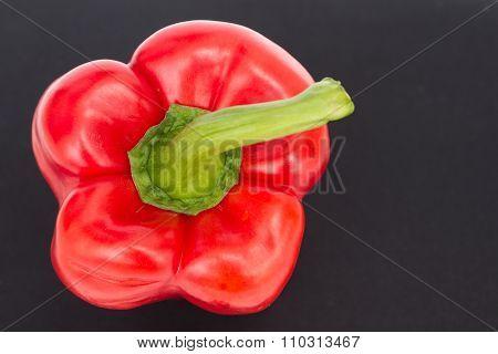 Fresh Red Bell Pepper  / Sweet Pepper / Capsicum  On Black Background ,