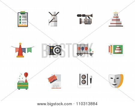 Event services flat color vector icons set