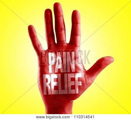 Pain Relief written on hand with yellow background