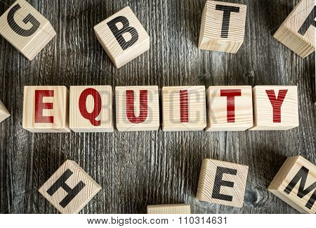 Wooden Blocks with the text: Equity