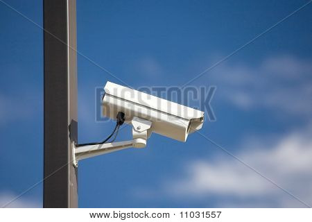 Surveillance Camera On Light Pole