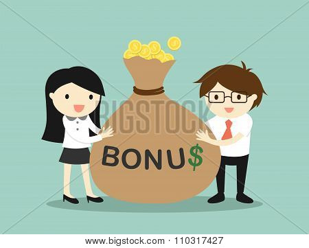 Business concept, Businessman and business woman are holding bonus and feeling happy.