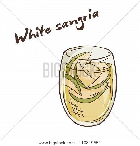 Vector Printable Illustration Of Isolated Cup Of White Sangria With Label