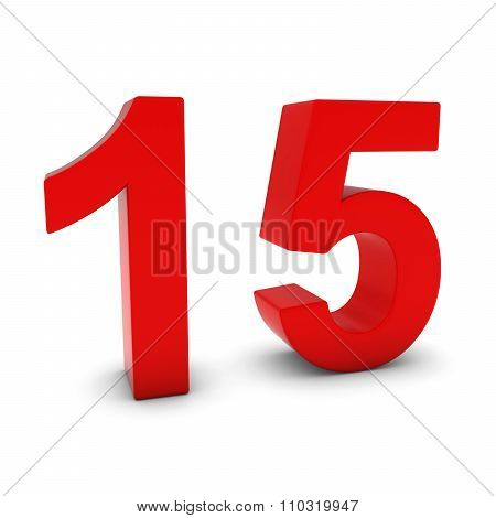 Red 3D Number Fifteen Isolated On White With Shadows