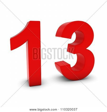 Red 3D Number Thirteen Isolated On White With Shadows