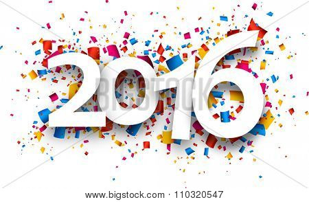 2016 new year card with colour confetti. Vector paper illustration.