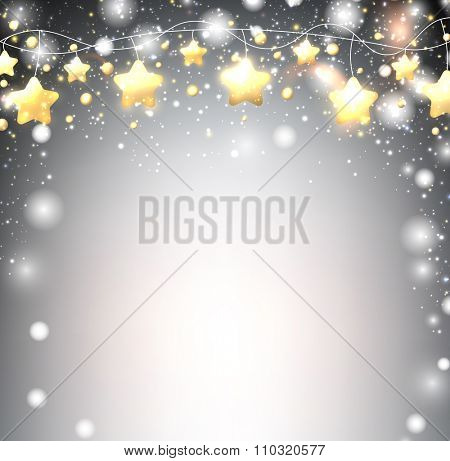Luminous background with garland of stars. Vector illustration.
