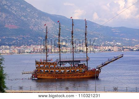 Alanya, Turkey - June, 2014: Boats In The Port Of Alanya