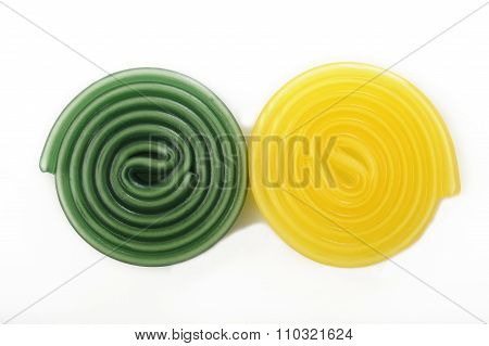 Colorful Liquorice Licorice Spiral Candies On White Background
