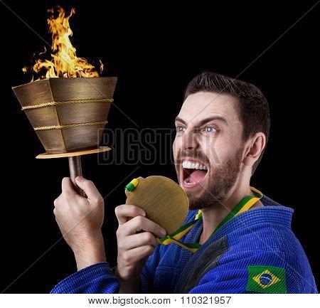 Brazilian judoka fighter isolated on black background