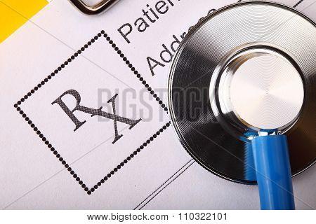 Form Of Prescribing Medicicnes And Stethoscope