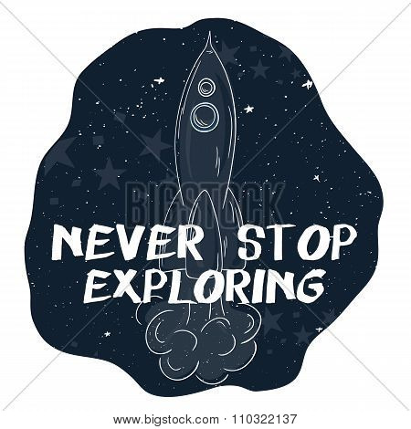 Vector Hand Drawn Printable Illustration Of Flying Rocket With Stars On The Background And Label - N