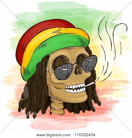 Vector Printable Hand Drawn Reggae Smoking Skull Wearing Rasta Hat, Sunglasses And Dreadlocks On Wat