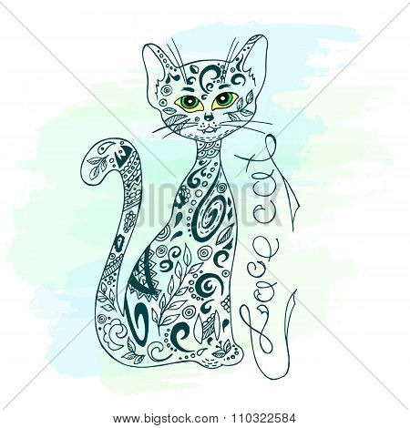Vector Hand Drawn Printable Illustration Of Sitting Zentangle Cat With Label On Watercolor Backgroun
