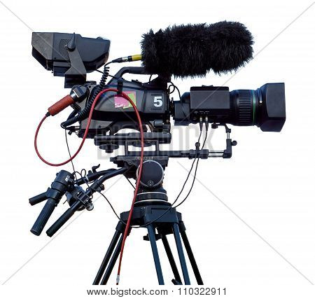 Professional Television Video Camera Isolated On White