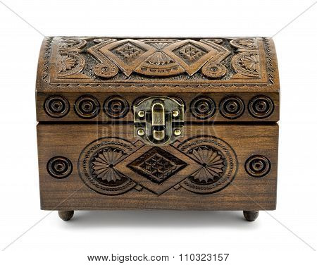 Beech Wood Carved Casket Handmade Isolated On White