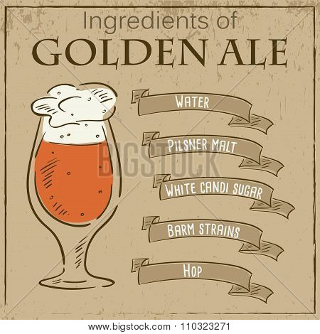 Vector vintage illustration of card with recipe of golden ale. Ingredients are written on ribbons