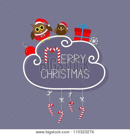 Two Owls In Santa Hat, Giftbox, Snowflake, Ball. Merry Christmas Card. Hanging Candy Cane. Dash Line