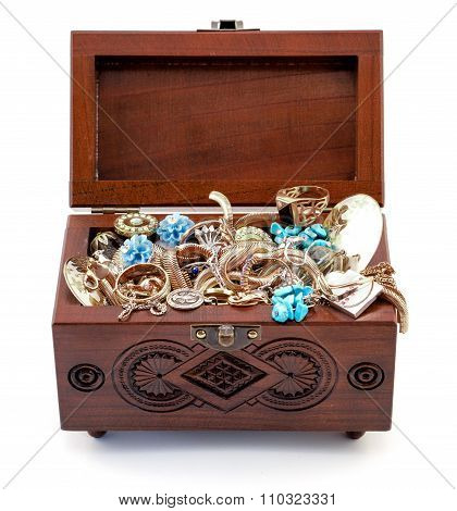 Opened Redwood Carved Casket Handmade With Jewelry Isolated On White