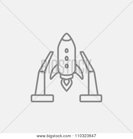 Space shuttle on a take-off area line icon for web, mobile and infographics. Vector dark grey icon isolated on light grey background.