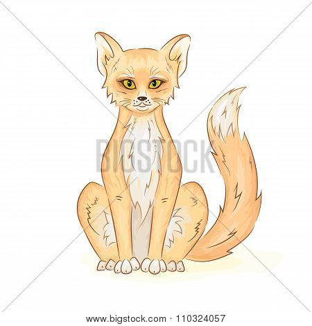 Vector hand drawn printable illustration of colorful cute sitting fox or cat. Can be printed on t-sh