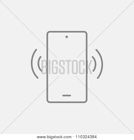 Vibrating phone line icon for web, mobile and infographics. Vector dark grey icon isolated on light grey background.
