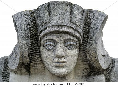 Stone Statue Of A Woman With The Face Of The Pharaoh In Ukraine Isolated On White