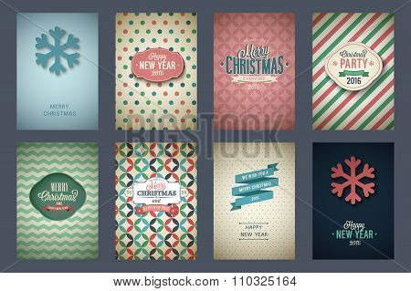 Vintage Poster Set Merry Christmas.