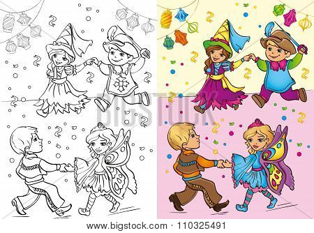 Coloring Book Of Children In Carnival Costumes