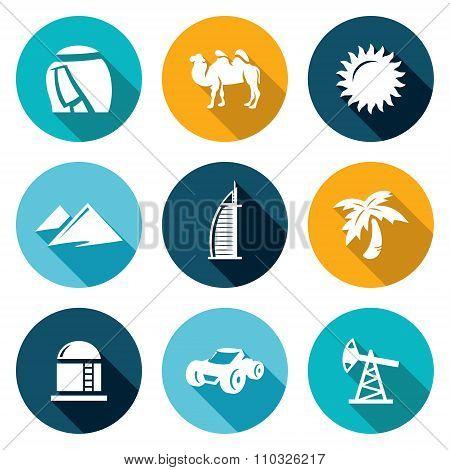 Arab Emirates Icons Set. Vector Illustration.