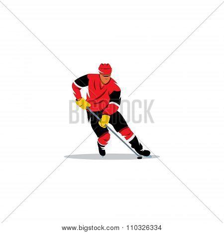 Hockey man. Vector Illustration.
