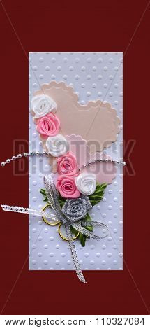 Wedding Card Handmade With Hearts And Gold Rings Maroon Isolated Made By Myself