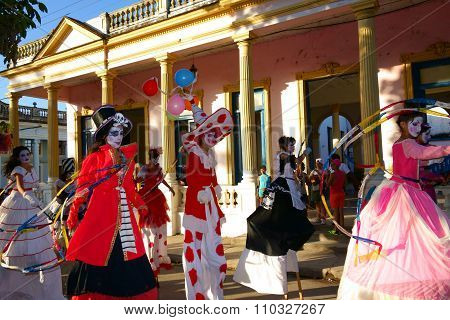 Colorful parade at the Las Charangas de Bejucal festival in Bejucal, Cuba on 25 December 2013