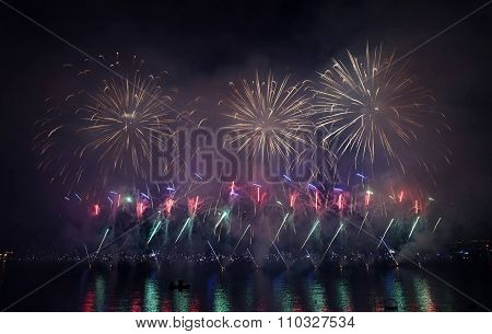 fireworks salute illumination opening ceremony salutes night sea view