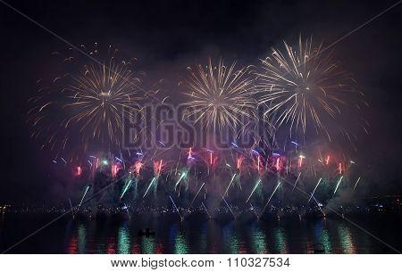 fireworks salute illumination opening ceremony salutes night sea view