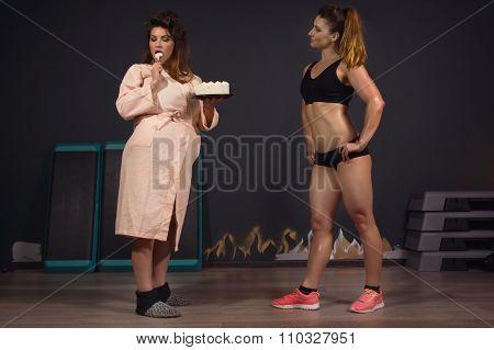 Athletic Girl Vs Fat Women