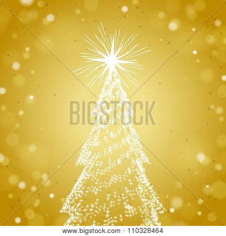 Brilliant Christmas Tree with Stars on a Gold Shiny Background