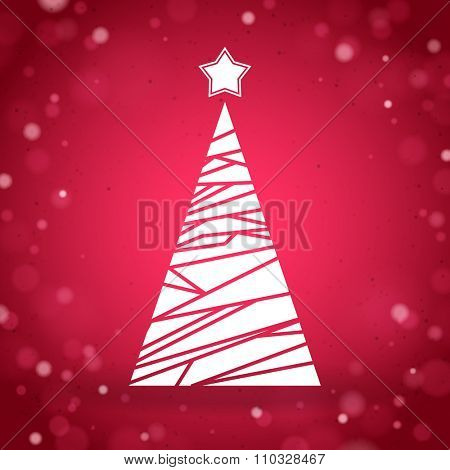 Abstract triangular christmas tree on a red shiny background