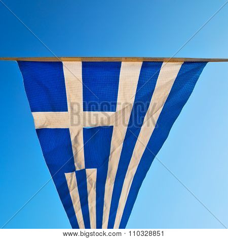 Waving Greece Flag In The Blue Sky And Flagpole