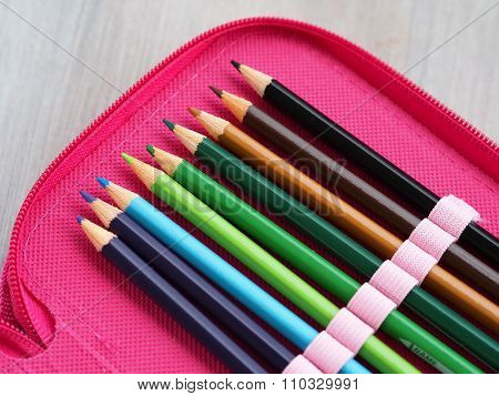 Color pencils in a pen case