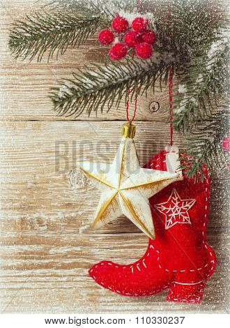 Christmas Background With Cowboy Toy Shoe And Wood Texture