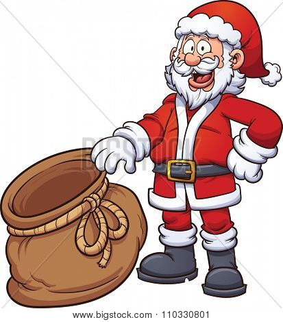 Santa Claus holding an open bag. Vector clip art illustration with simple gradients. Santa, front of the bag and back of the bag on separate layers, so something can be placed inside the bag.