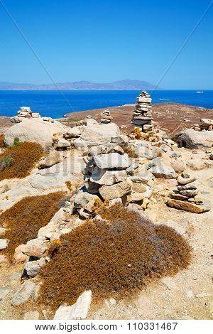 Sea In Delos Greece The Historycal Acropolis And